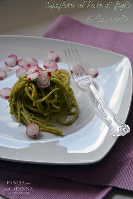 Spaghetti al pesto di foglie di ravanello