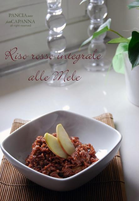 Riso rosso integrale con mele e funghi