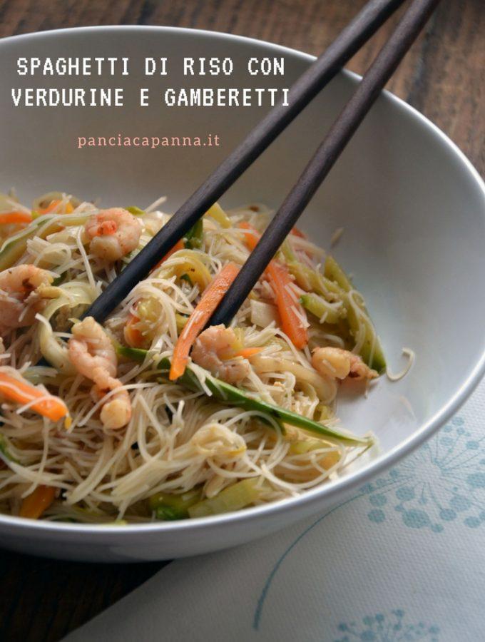 Spaghetti di riso con verdurine e gamberetti