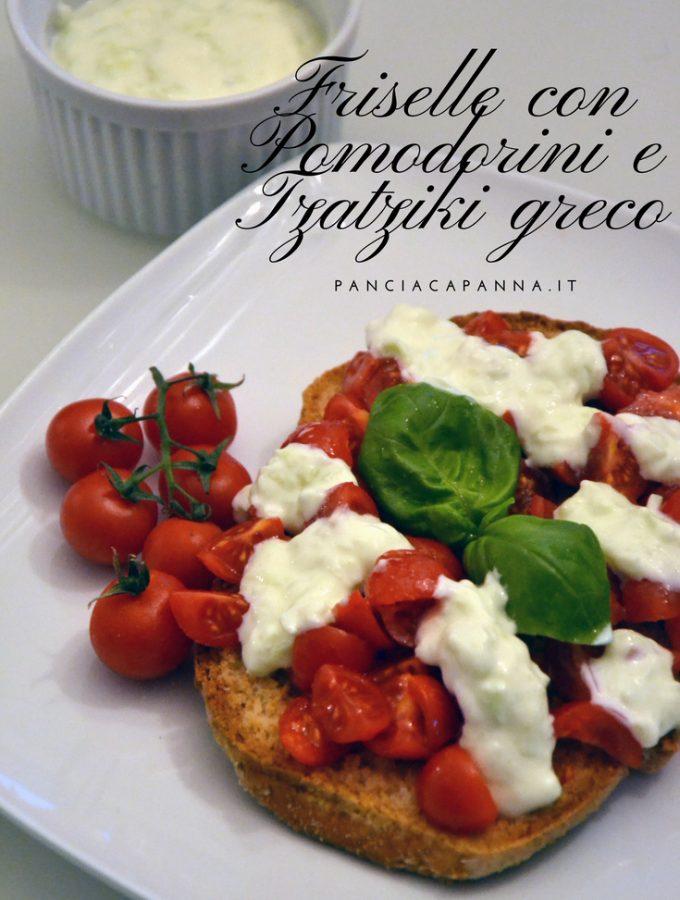 Friselle con pomodorini e tzatziki greco