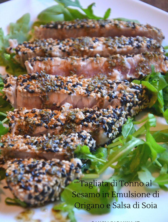Tagliata di tonno al sesamo con emulsione di origano e salsa di soia