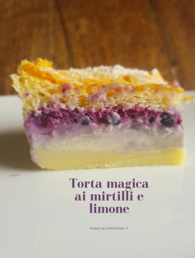 Torta magica ai mirtilli e limone
