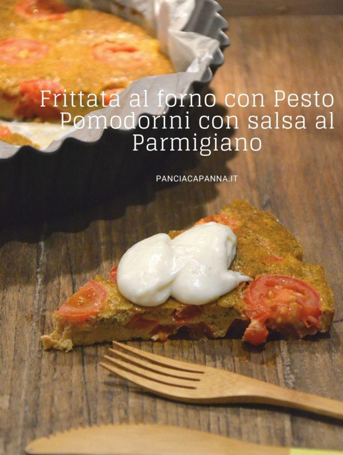 Frittata al forno con pesto e pomodorini con salsa al parmigiano