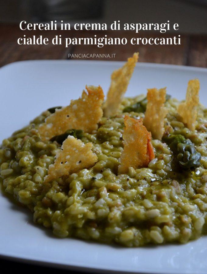Cereali in crema di asparagi con cialde di parmigiano croccanti