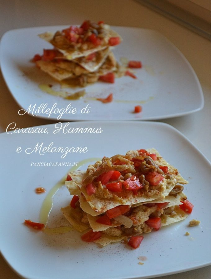 Millefoglie di carasau, hummus e melanzane