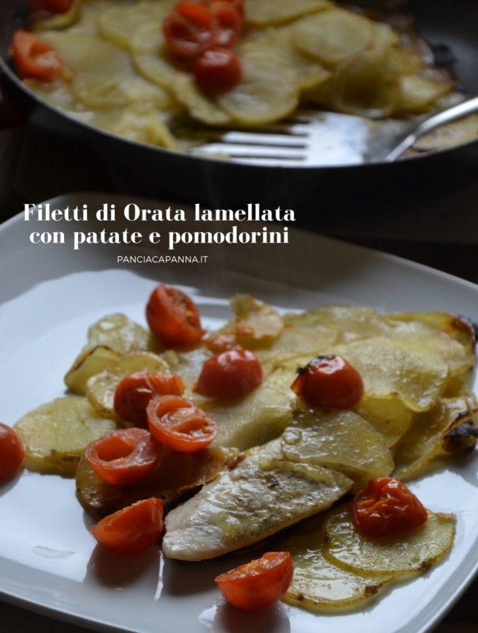 Filetti di orata lamellata con patate e pomodorini