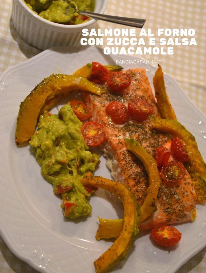 Salmone al forno con zucca e salsa guacamole