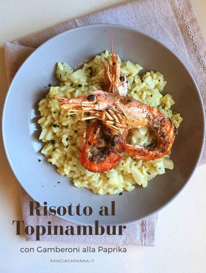 Risotto al Topinambur con Gamberoni alla paprika